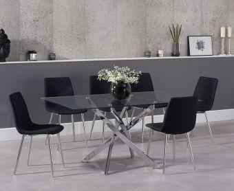 Denver 160cm Glass Dining Table with Hamburg Fabric Chrome Leg Chairs
