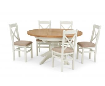 Ellen Round Extending Dining Table with Cross Back Fabric Chairs