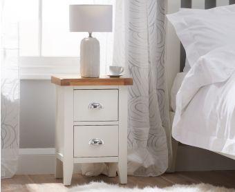 Ellen Oak and White 2 Drawer Bedside Table