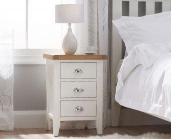 Ellen Oak and White 3 Drawer Bedside Table