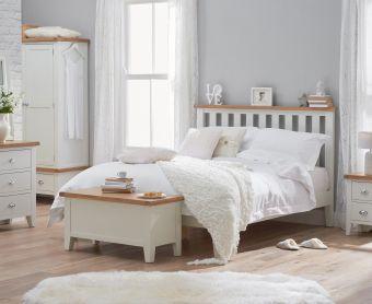 Ellen Oak and White Super King Size Bed