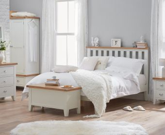 Ellen Oak and White King Size Bed