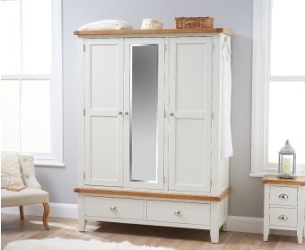 Ellen Oak and White Three Door Wardrobe