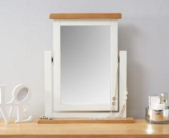 Ellen Oak and White Trinket Mirror