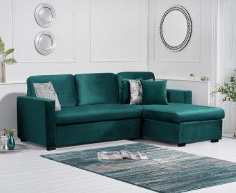 Everson Green Velvet Reversible Chaise Sofa Bed