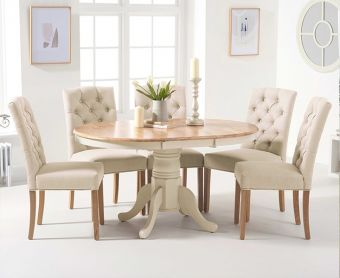 Epsom Oak and Cream Pedestal Extending Dining Table with Candice Cream Fabric Dining Chairs