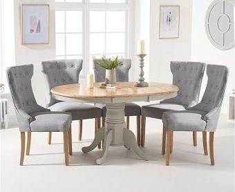 Epsom Oak and Grey Pedestal Extending Table with Cora Fabric Chairs