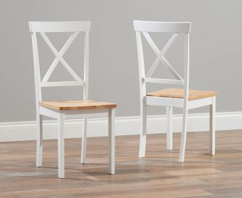 Epsom Oak and White Dining Chairs (Pairs)