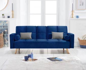 Etta 3 Seater Sofa Bed in Blue Velvet