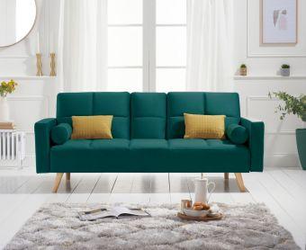 Etta 3 Seater Sofa Bed in Green Velvet