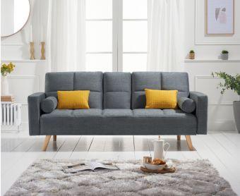 Etta 3 Seater Sofa Bed in Grey Linen