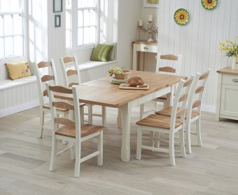 Somerset 130cm Oak and Cream Extending Dining Table with Chairs