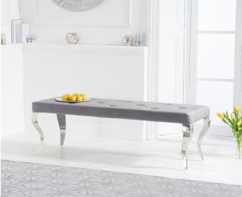 Fairmont 150cm Grey Velvet Bench