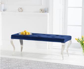 Fitzrovia 130cm Blue Velvet Bench
