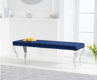 Fitzrovia 150cm Blue Velvet Bench