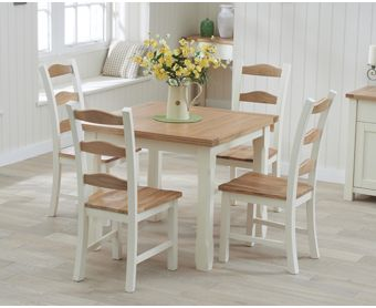 Somerset 90cm Flip Top Oak and Cream Table with Chairs