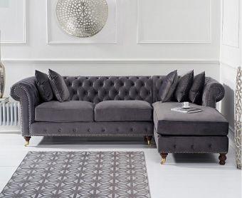 Fusion Medium Grey Velvet Right Facing Chesterfield Chaise Sofa
