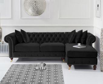 Fusion Black Velvet 275cm Medium Right Facing Chaise Sofa
