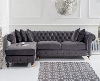 Fusion Medium Grey Velvet Left Facing Chesterfield Chaise Sofa
