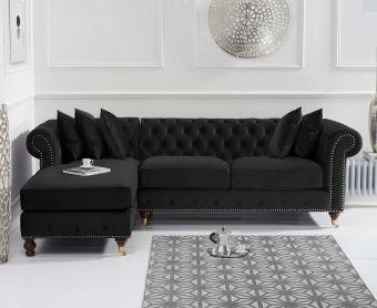 Fusion Black Velvet 275cm Medium Left Facing Chaise Sofa
