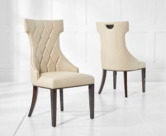 Freya Cream Faux Leather Dining Chairs (Pairs)