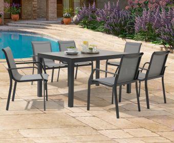 Geranium 150cm Dark Grey Garden Table and Canna Chairs