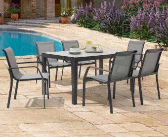 Geranium 150cm Light Grey Garden Table and Canna Chairs