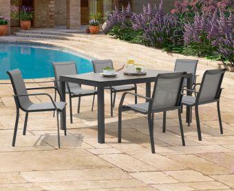 Geranium 180cm Dark Grey Garden Table and Canna Chairs