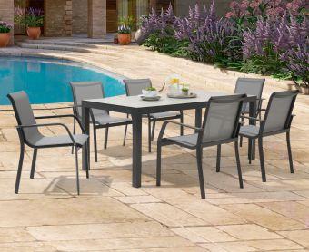Geranium 180cm Light Grey Garden Table and Canna Chairs