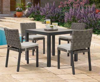 Geranium 90cm Dark Grey Garden Table and Geranium Chairs