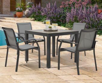 Geranium 90cm Dark Grey Garden Table and Canna Chairs