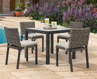 Geranium 90cm Light Grey Garden Table and Geranium Chairs