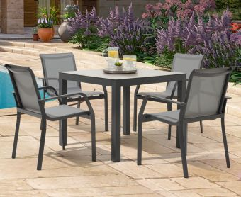 Geranium 90cm Light Grey Garden Table and Canna Chairs