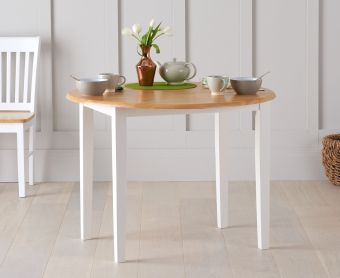 Genoa 100cm Oak and White Drop Leaf Dining Table