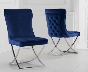Giovanni Blue Velvet Dining Chairs