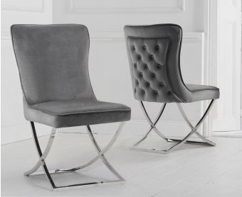 Giovanni Grey Velvet Dining Chairs