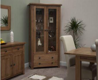 Rustique Oak Glass Display Cabinet