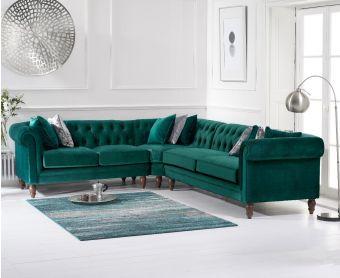 Livi Medium Green Velvet Corner Sofa