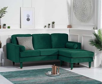 Lucas Green Velvet 3 Seater Reversible Chaise Sofa