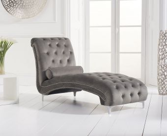 New Jersey Grey Velvet Chaise Lounge