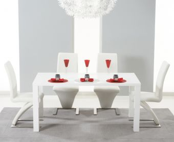 Atlanta 160cm White High Gloss Dining Table with Ivory-White Hampstead Z Chairs
