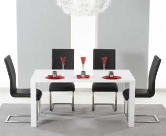 Atlanta 160cm White High Gloss Dining Table with Black Malaga Chairs