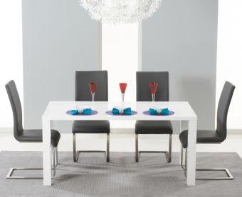 Atlanta 120cm White High Gloss Dining Table with Grey Malaga Chairs