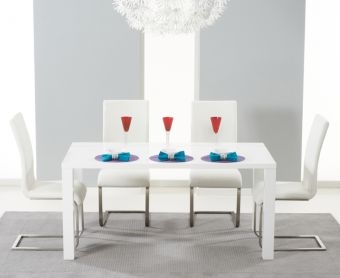 Atlanta 160cm White High Gloss Dining Table with Ivory-White Malaga Chairs