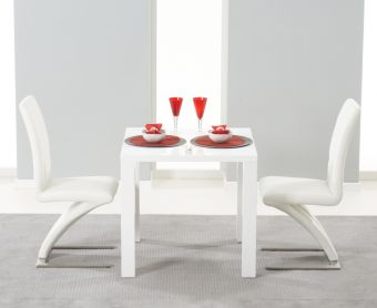 Atlanta 80cm White High Gloss Dining Table with Ivory-White Hampstead Z Chairs