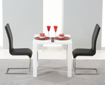 Atlanta 80cm White High Gloss Dining Table with Black Malaga Chairs