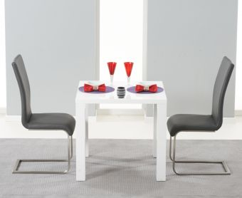 Atlanta 80cm White High Gloss Dining Table with Malaga Chairs