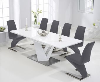 Harmony 160cm White High Gloss Extending Dining Table with Hampstead Z Chairs