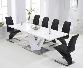 Harmony 160cm White High Gloss Extending Dining Table with Black Hampstead Z Chairs