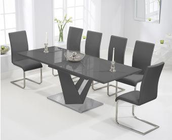 Harmony 160cm Extending Dark Grey High Gloss Dining Table with Malaga Chairs
